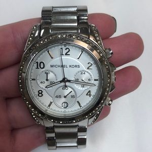 Michael Kors Silver Watch with Pave Diamond Face